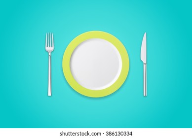 Plate with fork and knife on azure background