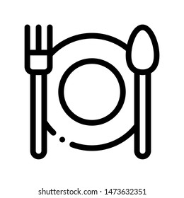 Plate Fork And Spoon Sign Thin Line Icon. Plate With Flatware Restaurant Mark, Hotel Performance Of Service Equipment Linear Pictogram. Business Hostel Items Monochrome Contour Illustration
