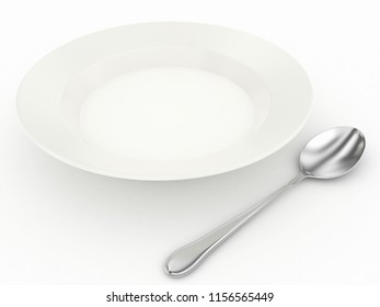 plate and spoon 3d rendering