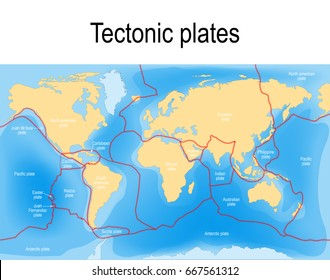 Plate tectonics map. major an minor plates.