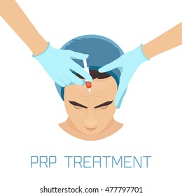 Platelet rich plasma facial injection. PRP process for facelift and wrinkles. Male rejuvenation treatment infographics. Anti-ageing procedure and meso therapy.