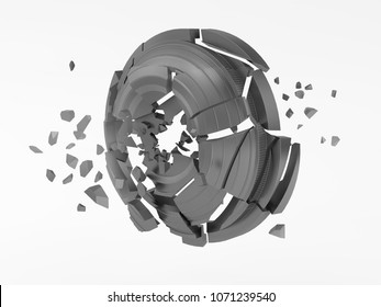 plates for shooting sports, shattered clay target for shooting on a white sky