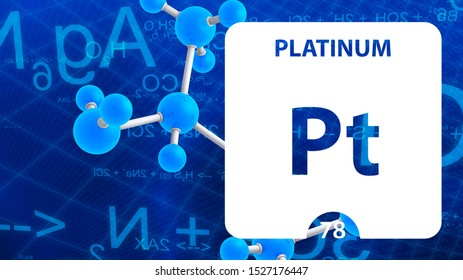 Platinum Pt, chemical element sign. 3D rendering isolated on white background. Platinum chemical 78 element for science experiments in classroom science camp laboratory. laboratory, science concept