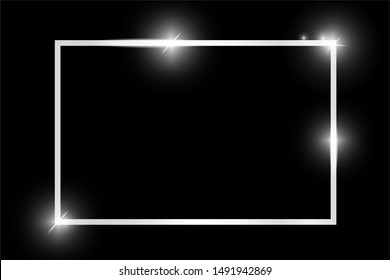Platinum shiny glowing vintage rectangle frame with shadows isolated on black background. Silver luxury realistic rectangle border