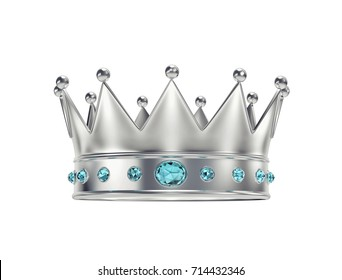 Platinum, silver crown with blue gemstones isolated on white. 3D rendering with clipping path