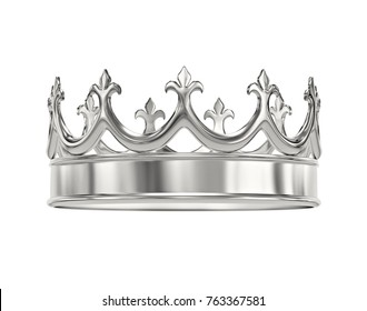 Platinum, silver crown isolated on white. 3D rendering with clipping path