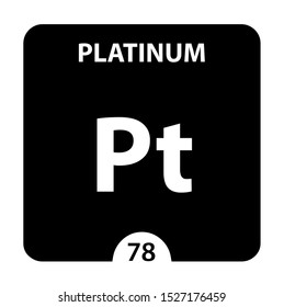 Platinum symbol. Sign Platinum with atomic number and atomic weight. Pt Chemical element of the periodic table on a glossy white background. Experiments in the laboratory. science ant technology