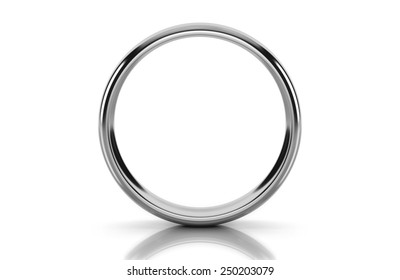 Platinum Wedding ring in Heart Form  isolated on white background