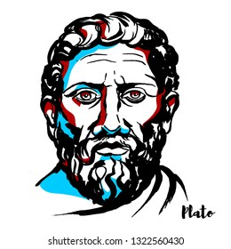 Plato engraved portrait with ink contours. Philosopher in Classical Greece and the founder of the Academy in Athens, the first institution of higher learning in the Western world.