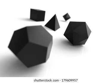 platonic solids black 1