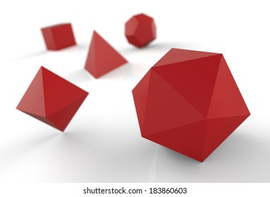platonic solids red