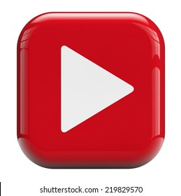 Play button isolated with clipping path.