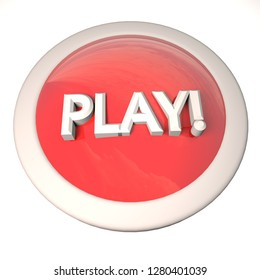 Play button over white background, 3d rendering
