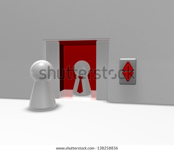 play figures and elevator - 3d illustration