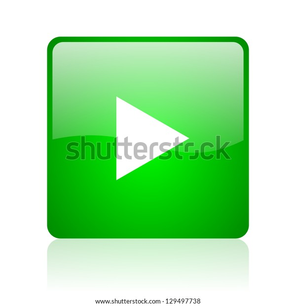 play green square web icon on white background