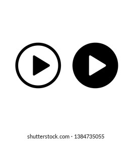 Play icons, buttons, black symbol illustration