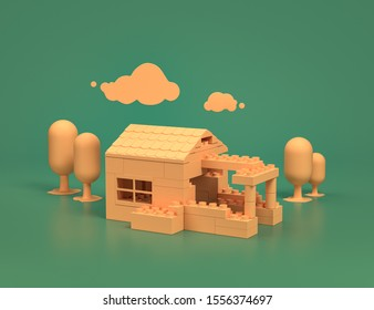 Play room with a yellow lego house and trees on green background, 3d Rendering