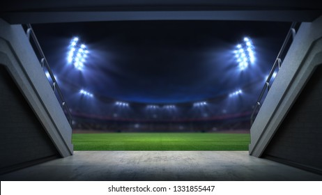 player entrance to illuminated stadium full of fans, football stadium sport theme digital 3D background advertisement illustration my own design