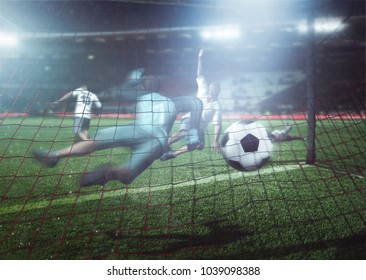 Player shoots goal in football - Shutterstock ID 1039098388