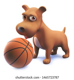 Playful 3d puppy dog character has a basketball, 3d illustration render