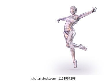 Playful positive female robot outstretched arms. Android, humanoid or cyborg artificial intelligence technology concept. Futuristic science fiction element. Clipping path included. 3D illustration