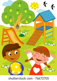 Black Kid Playing Outside Stock Illustrations Images Vectors Shutterstock