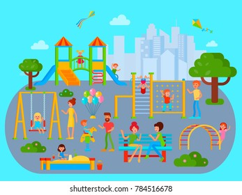 Playground composition with flat city urban landscape with playing kids teenagers and their parents cartoon characters  illustration