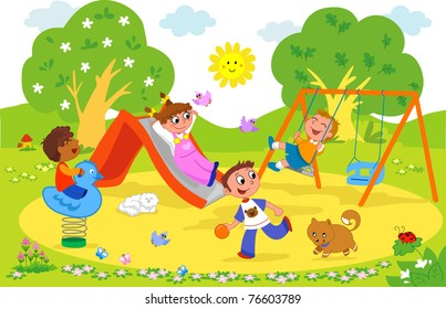 Playground: happy children playing together.