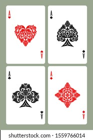 Playing card aces with retro decorative suit symbols isolated on white