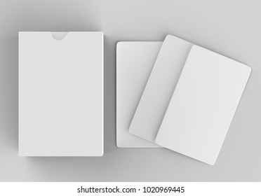 Playing card box with blank white cards on light grey background, 3d illustration.