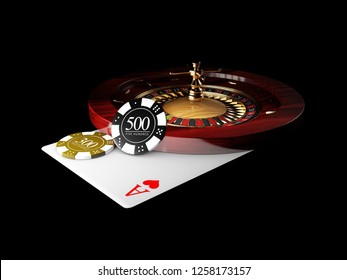 Playing card and poker chips casino. Casino roulette concept on black background. 3d illustration.