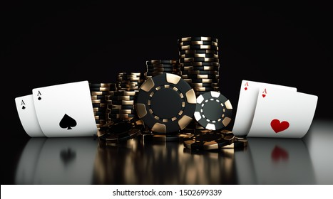 Playing Cards And Black And Golden Casino Chips Isolated On The Black Background - 3D