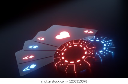 Playing Cards And Casino Chips With Futuristic Glowing Neon Lights Isolated On The Black Background - 3D