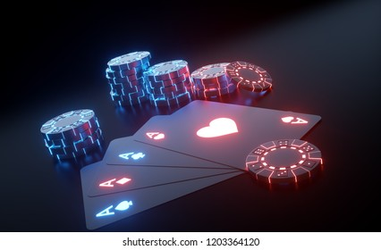 Playing Cards And Casino Chips With Futuristic Glowing Neon Lights Isolated On The Black Background - 3D Illustration