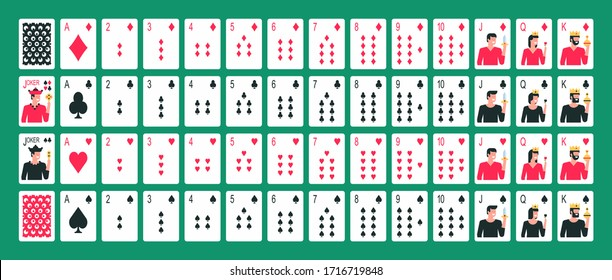 Playing cards. Collection of playing cards. Poker playing cards. Flat Style. isolated on green background