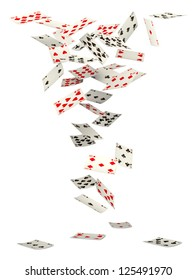 Playing cards falling down on white background