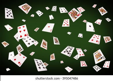 Playing cards flying at the poker table.