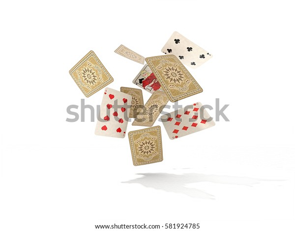 playing cards on white background. 3d rendering