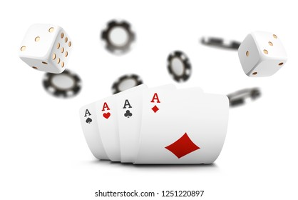 Playing cards, poker chips and dice fly casino on white background. Poker casino  illustration. Online casino game gambling 3d  concept, poker mobile app icon.