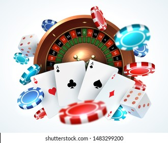 Playing cards poker chips. Falling dice online casino gambling realistic 3D gaming concept with  leisure lucky roulette
