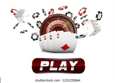 Playing cards and poker chips fly casino. Casino roulette concept on white background. Poker casino  illustration. Red and black realistic chip in the air. Gambling play button mobile app icon