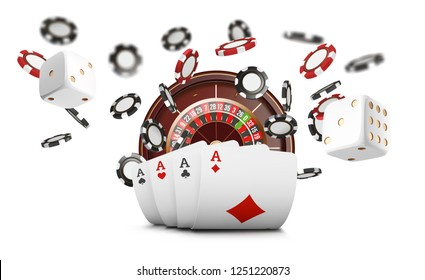 Playing cards and poker chips fly casino. Casino roulette concept on white background. Poker casino  illustration. Red and black realistic chip in the air. Gambling poker mobile app icon