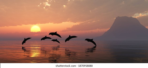Playing dolphins at sunset, seascape with dolphins, island in the sea at sunset and dolphins, 3D rendering