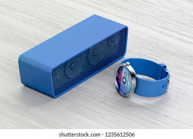 Playing music from the smartwatch on the wireless speaker, 3D illustration