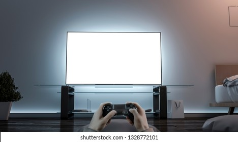 Playing videogame with joystick near blank white tv screen mockup, 3d rendering. Empty televisor and game controller mock up. Man in room with joypad template.