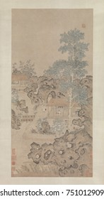 PLAYING THE ZITHER FOR A CRANE, 1540-50s, Chinese painting, Ming dynasty, ink, color on silk. A man plays music for his pet crane beneath a massive paulownia tree. His house is set in a garden-like la
