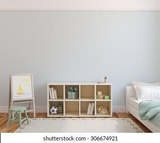 Playroom interior. 3d render.