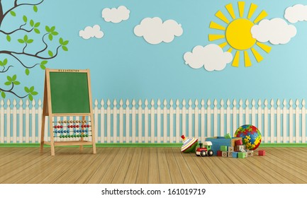 Playroom with wall decor, toys and blackboard with abacus - rendering