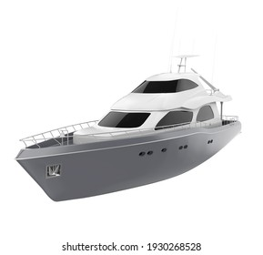 Pleasure Yacht Isolated. 3D rendering