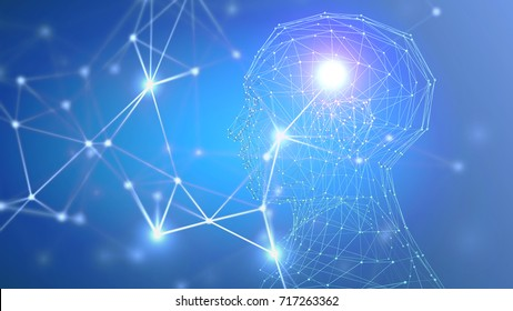 Plexus combined with Abstract polygonal male head model on blue background. Innovation and technology concept. 3D Rendering